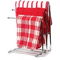 Home-X - Free Standing Towel Rack, Space Saving Kitchen Towel & Hand Towel Rack Holds 3 Towels at Once, Polished Chrome…