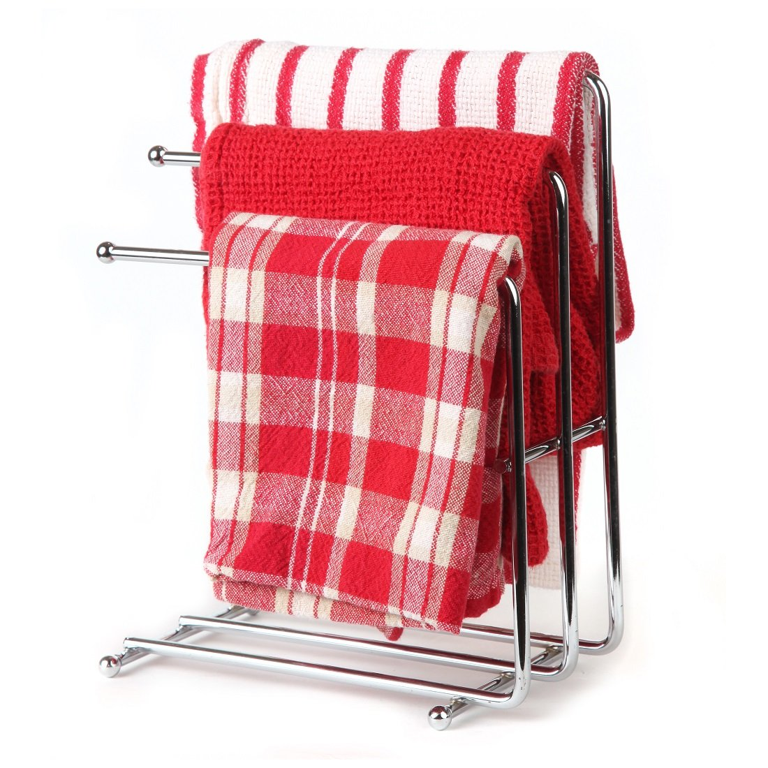 Home-X Free Standing Towel Rack, Space Saving Kitchen Towel & Hand Towel Rack Holds 3 Towels at Once, Polished Chrome Finish & Design Looks Great in Kitchens & Bathrooms (Towels Not Included)