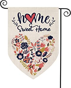AVOIN Home Sweet Home Garden Flag Vertical Double Sided Floral Love Heart, Navy Blue Flower Rustic Modern Farmhouse Burlap Yard Outdoor Decoration 12.5 x 18 Inch
