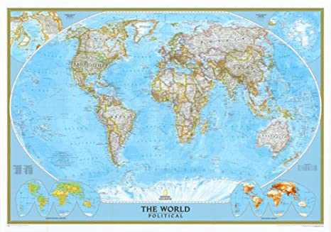 Amazon.com : World Classic Political Map (Two Sizes and Spanish ...