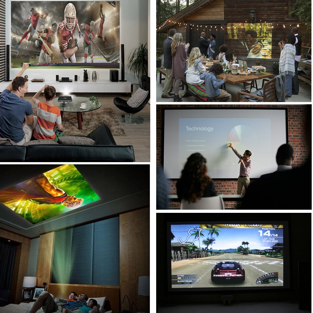 Roadwi DLP Mini Projector Probable Pico Projector, Android UI 4.4.4 Operating System With 120 Inch Display Support 1080P WiFi/Bluetooth/USB/HDMI/TF Card/Audio Speakers with Free Tripod by roadwi (Image #5)