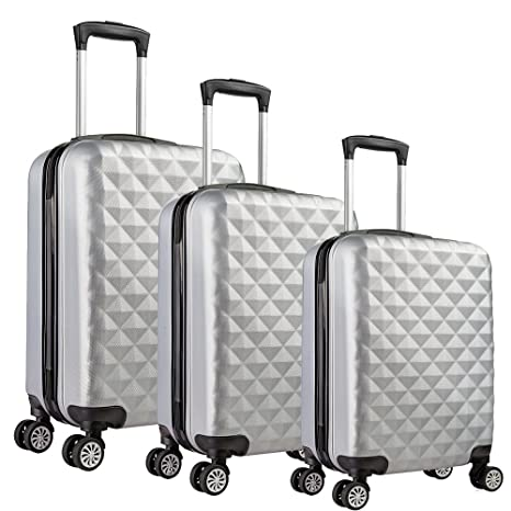 Valigo Paris Juego de maletas plateado Lot de 3 valises 50 ...