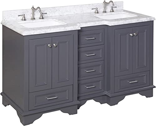 Nantucket 60-inch Double Bathroom Vanity Carrara/Charcoal Gray : Includes Charcoal Gray Cabinet