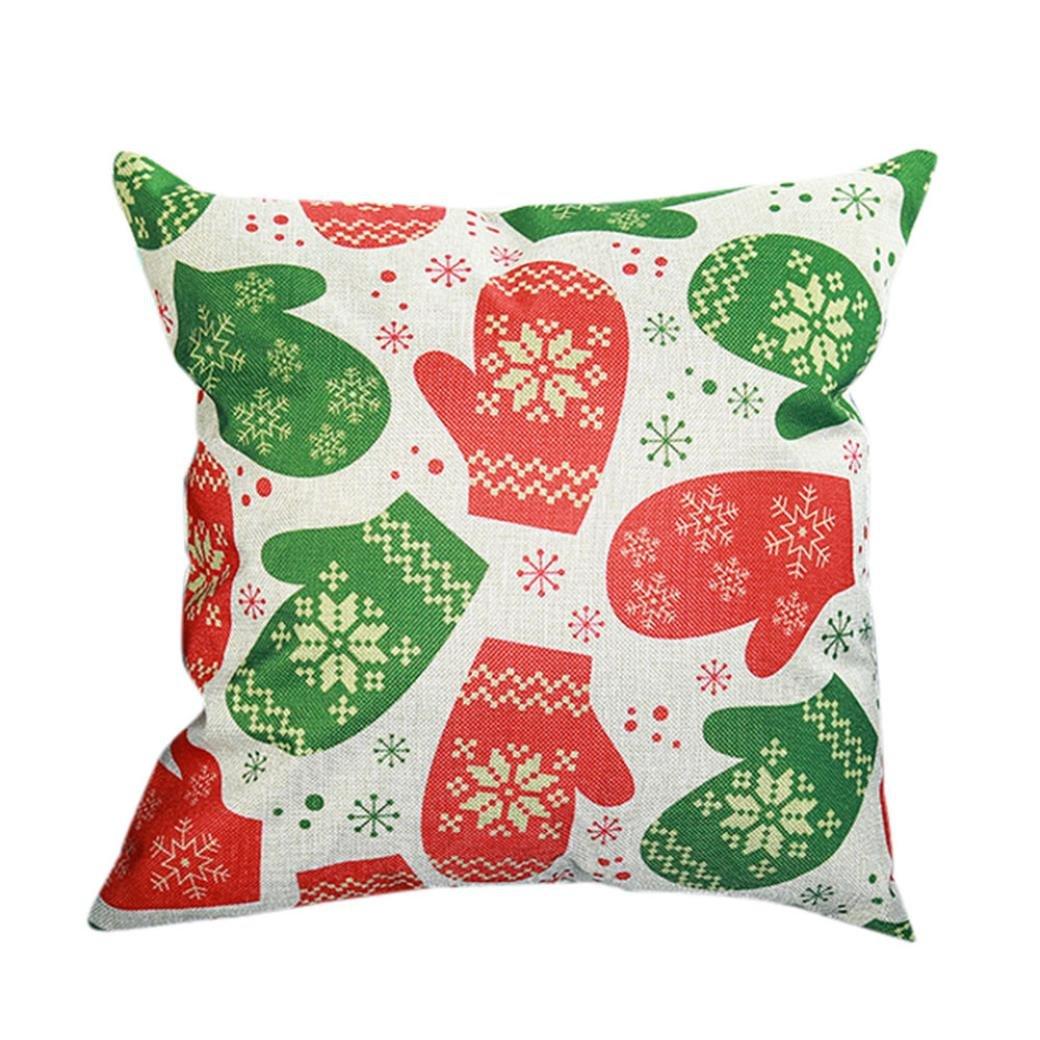 Fundas De Cojines, XINANTIME Feliz Navidad Imprimir Maletín Funda de cojín de algodón de lino 45 x 45 cm (A)