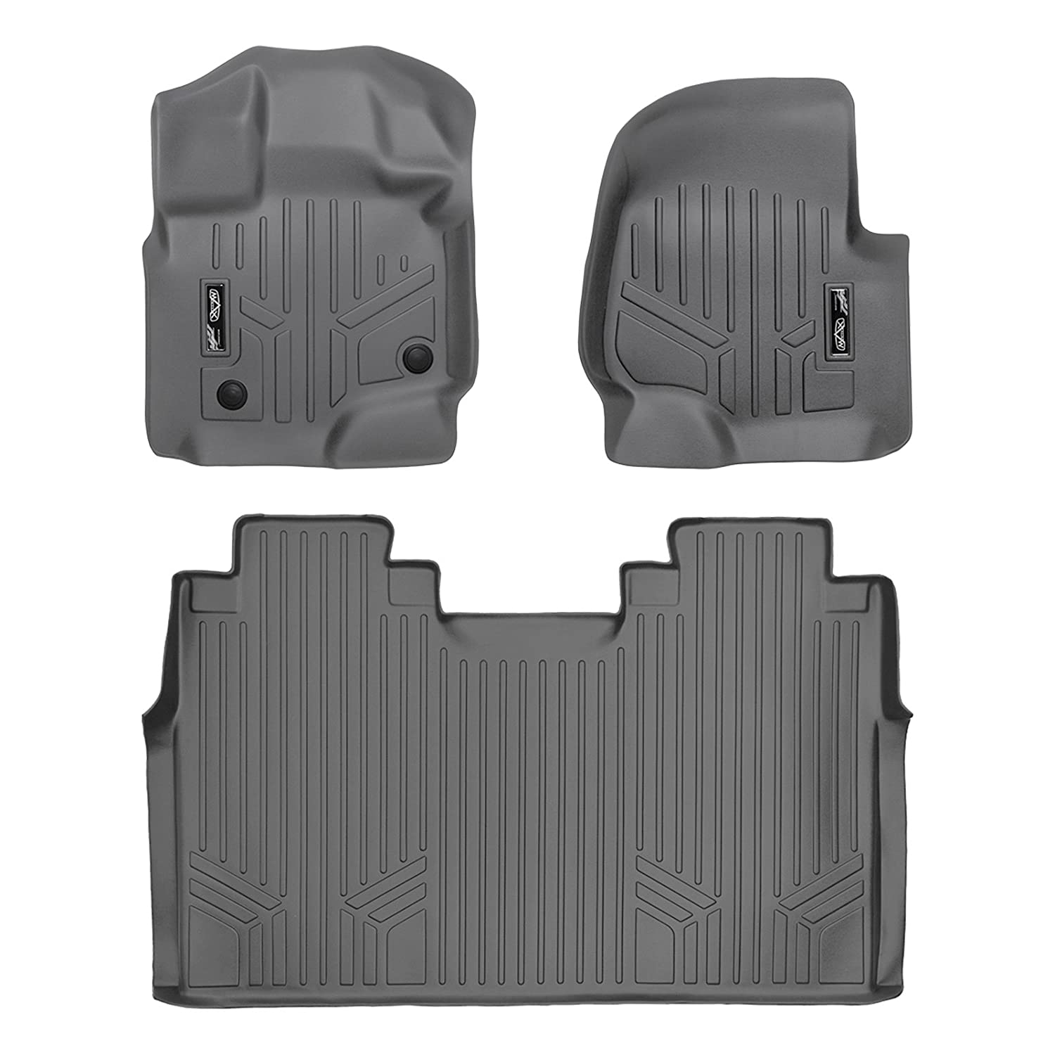 MAXLINER A2167/B2188 Floor Mats for Ford F-150 Super Crew with Front Bench Seats, 2015-2017 Complete Set, Grey