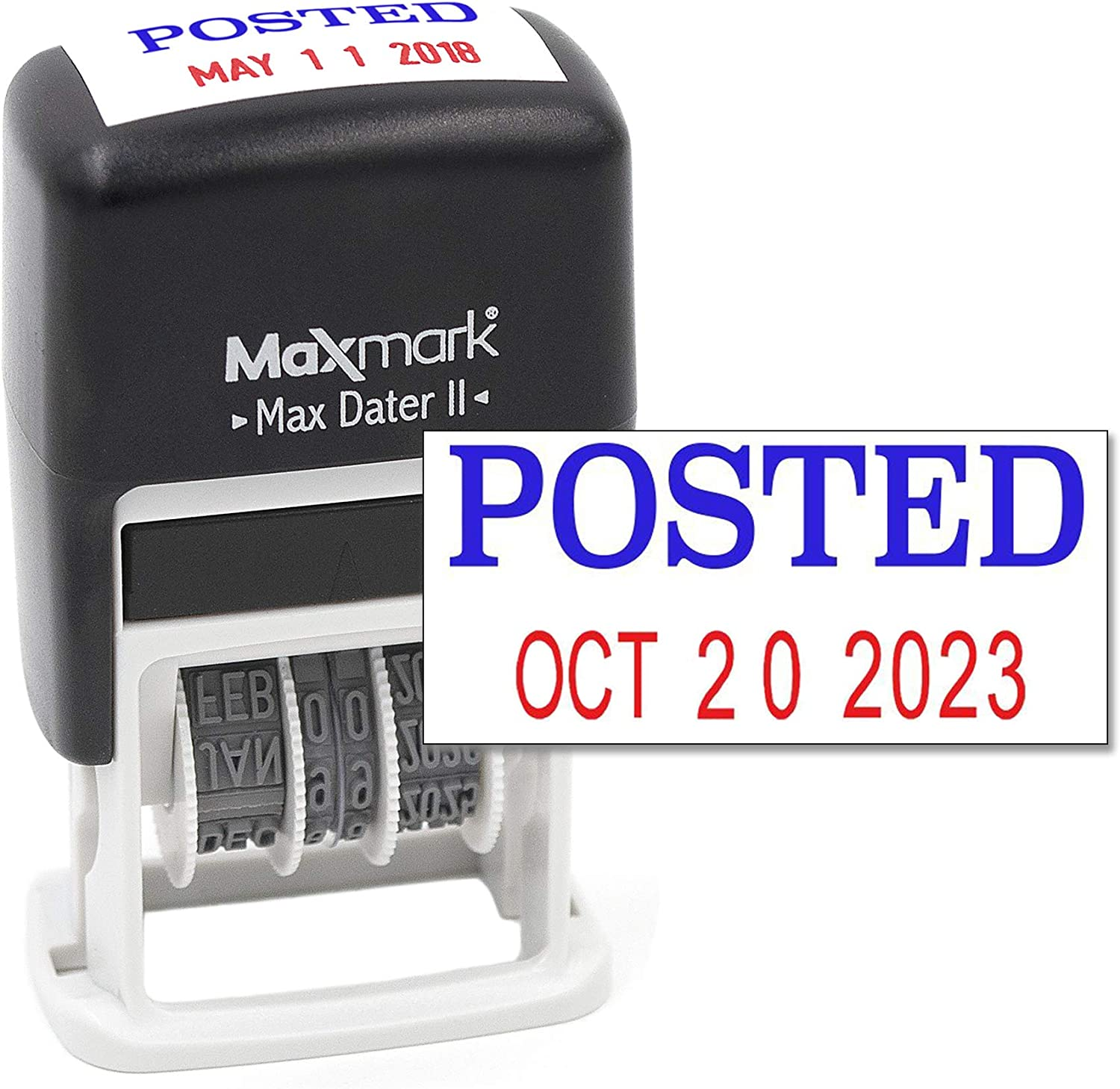 Max Dater II 12-Year Band MaxMark Self-Inking Rubber Date Office Stamp with Received Phrase Blue Ink /& Date RED Ink