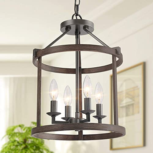 LNC Farmhouse Chandeliers for Dining Rooms with Faux Wood Finish, W13 xH17.1