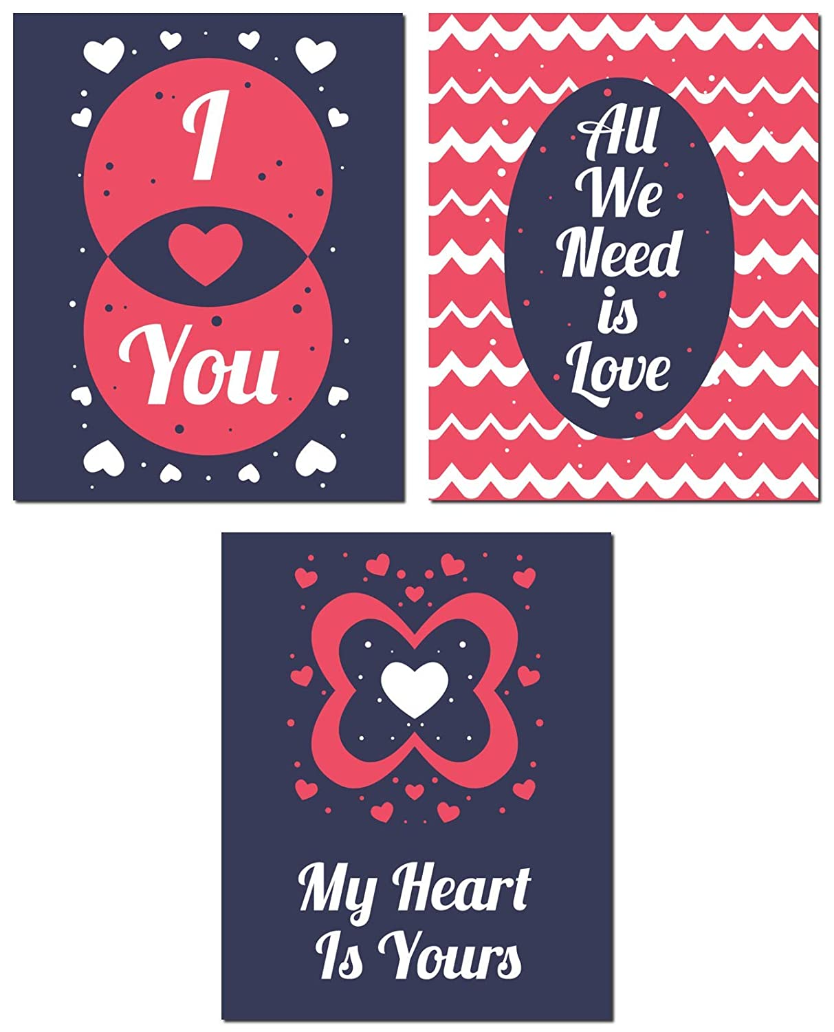 Bedroom Decor Wall Art - Beautiful And Decorative - Anniversay Valentine Husband Wife Gift - I Love You - Red Blue Design - Unframed…