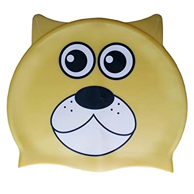 3 Asyglide enfants Junior enfant Yellow Dog Pattern en silicone en forme de natation Caps