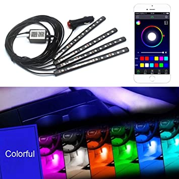 Xy zone led car interior lighting kits 48 leds rgb underdash atmosphere wireless app remote