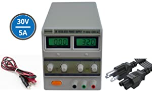 Tekpower TP3005D Digital Variable Linear Type DC Power Supply, 0-30V @ 0-5A with Alligator Cable and Power Cord