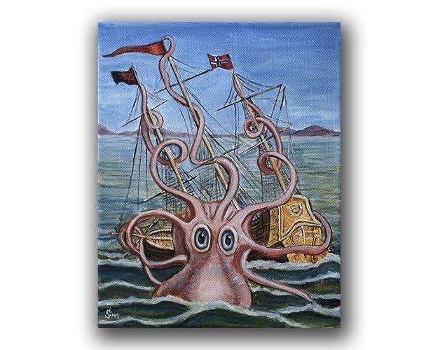 amazon com kraken octopus wall art print giclee kids room whimsical