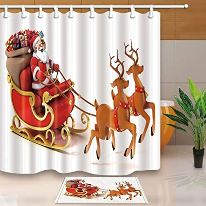 SZZWY Christmas Decor Santa Claus Drives Reindeer On Snow 69X70in Mildew Resistant Polyester Fabric Shower Curtain
