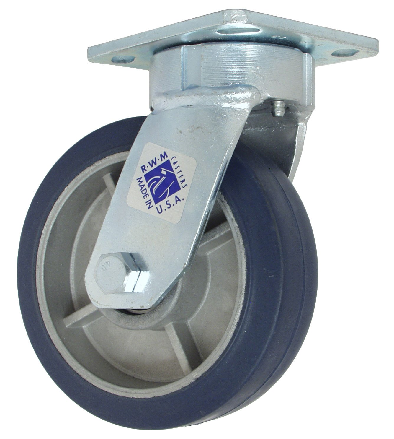 RWM Casters 65-RAB-0620-S 65 Series 7-1/2'' High, 6'' Rubber on Aluminum Wheel, Swivel Caster