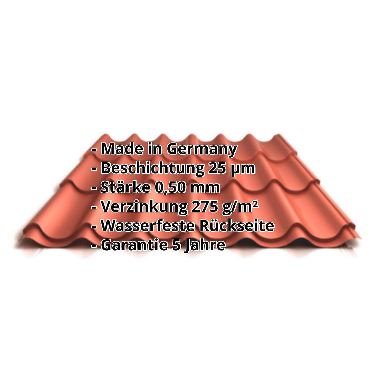 Pfannenblech Farbe Kupferbraun St/ärke 0,50 mm Profil PS47//1060RT Dachziegelblech Beschichtung 25 /µm Material Stahl Ziegelblech