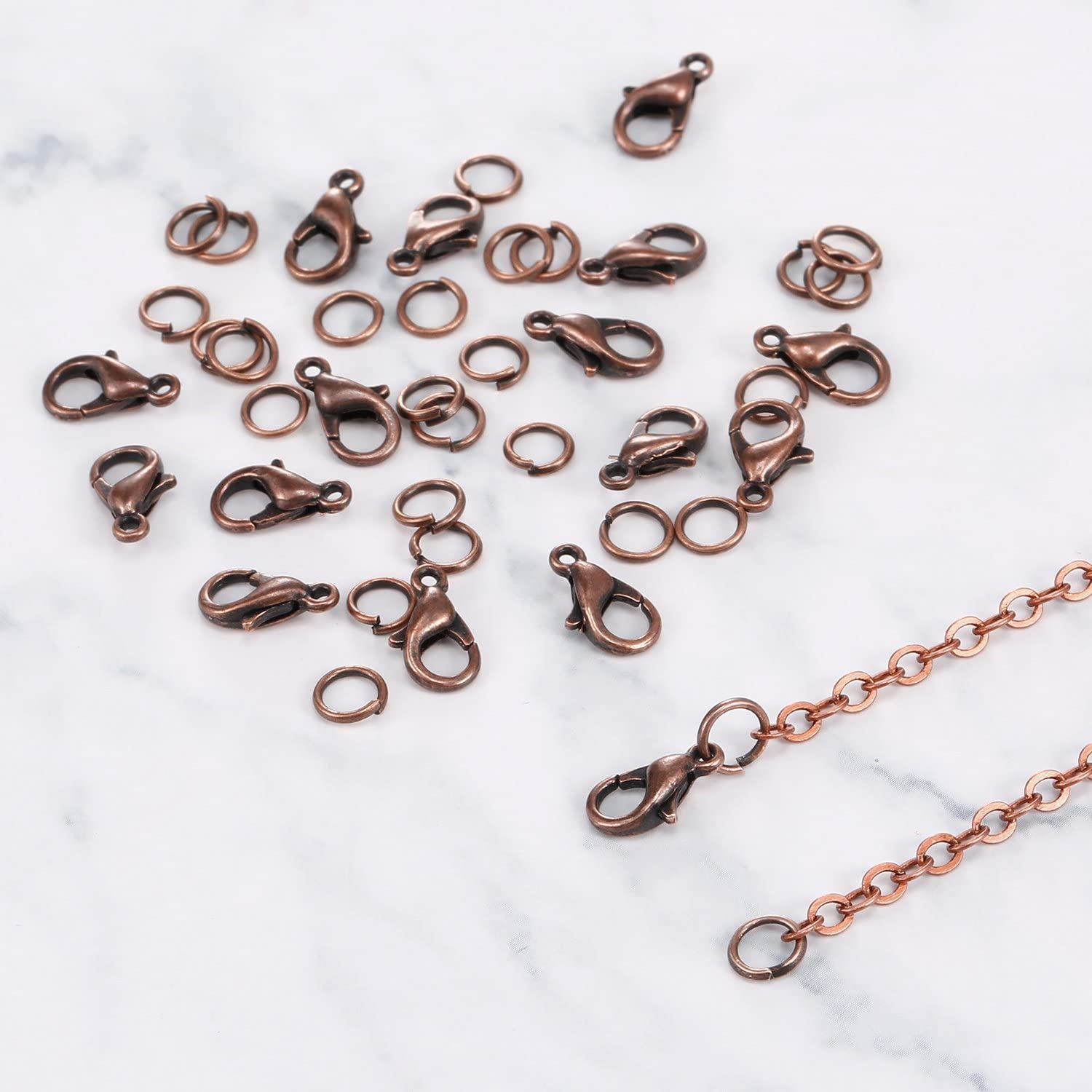 33 Feet Antique Red Copper Chain Link Necklace with 30 Pieces Jump Rings and...