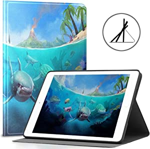 Case for 9.7 iPad Hungry Shark World X iOS Android Shark Fit 2018/2017 iPad 5th/6th Generation Girl iPad Case 9.7 Also Fit iPad Air 2/iPad Air Auto Wake/Sleep