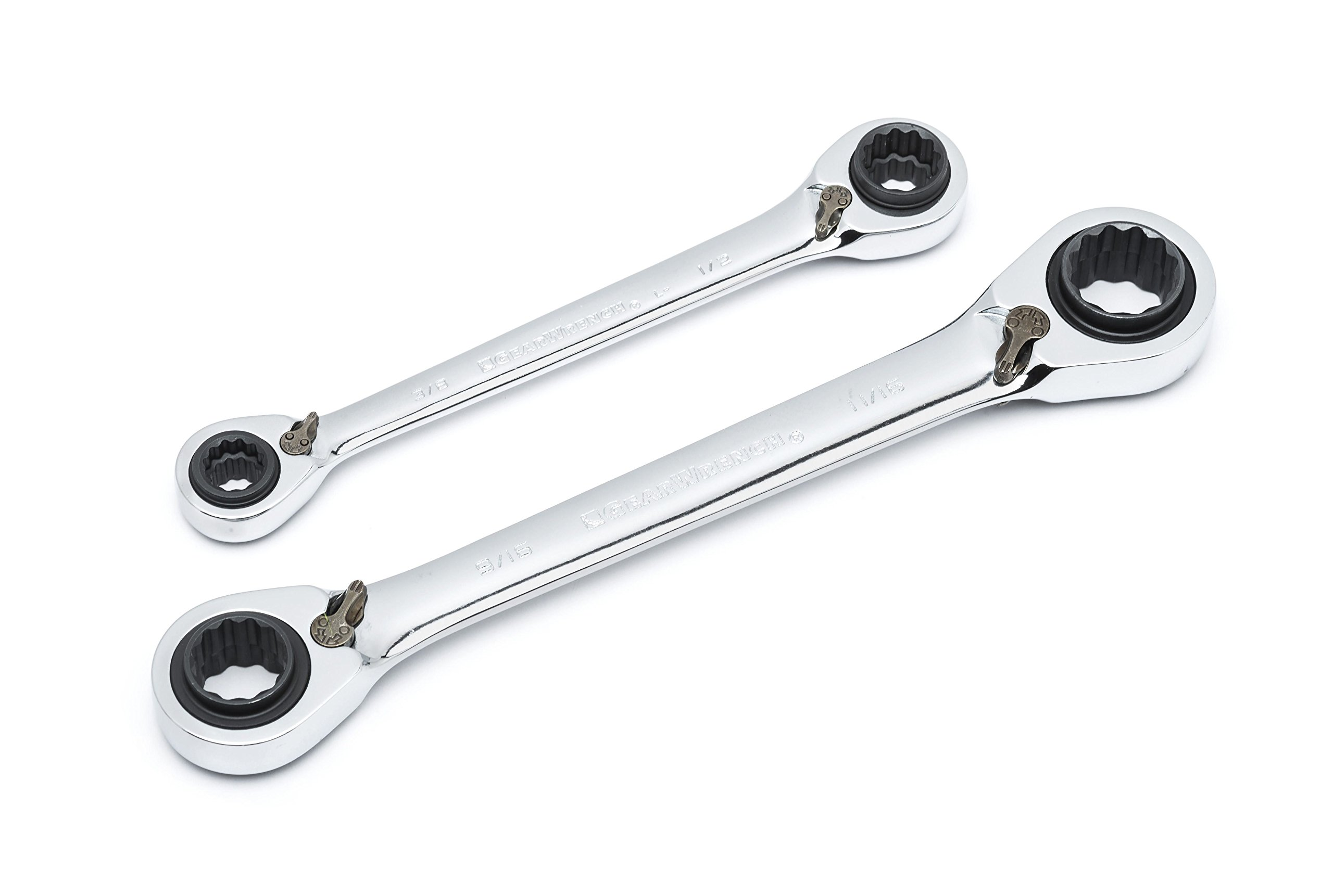GEARWRENCH 2 Pc. 12 Point QuadBox Reversible Double Box Ratcheting SAE Wrench Set - 85900 by GearWrench