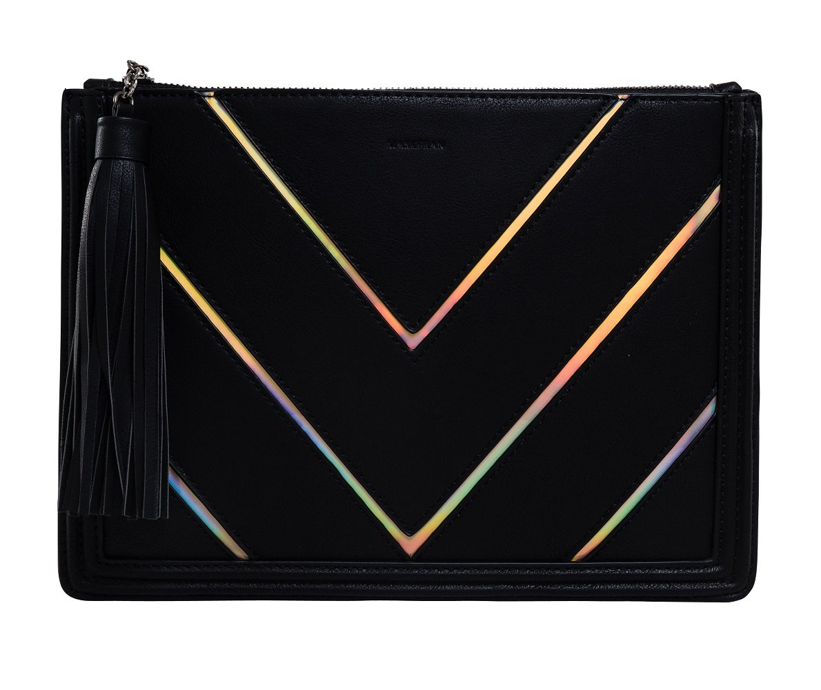 BG-707-C06 Clutch Purse Iridescent Stripe Hologram Evening Bag - Black (Chevron)