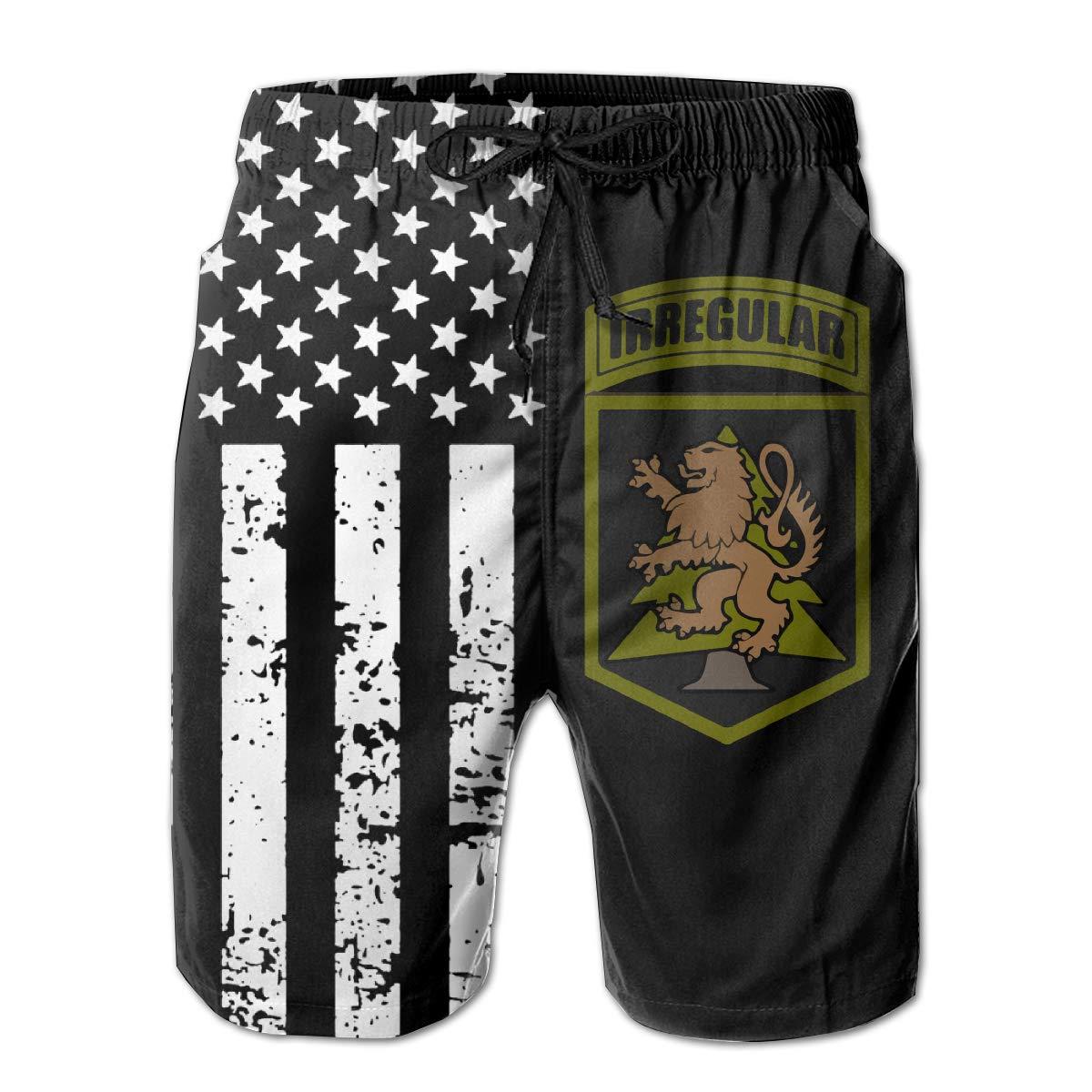 TBVS 79 Highland Lion Shield Mens Elastic Waist Beach Board Shorts for Men Boys