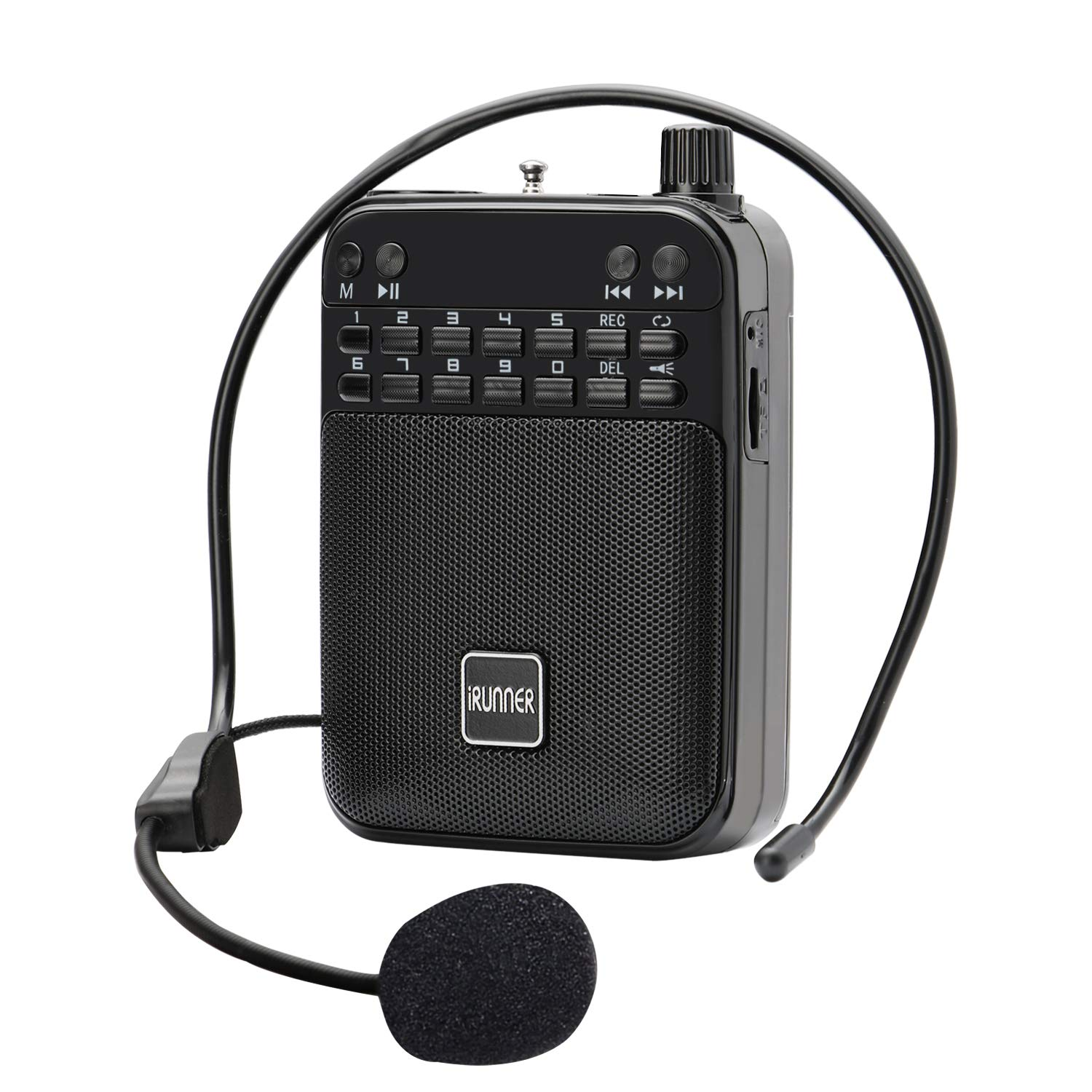 IRUNNER Voice Amplifier, Ultralight Portable Rechargeable PA System(2.5 inch) 5W 12 hours playtime with Wired Microphone and Waistband for Teachers, Presentations, Coaches, Tour Guides, Market
