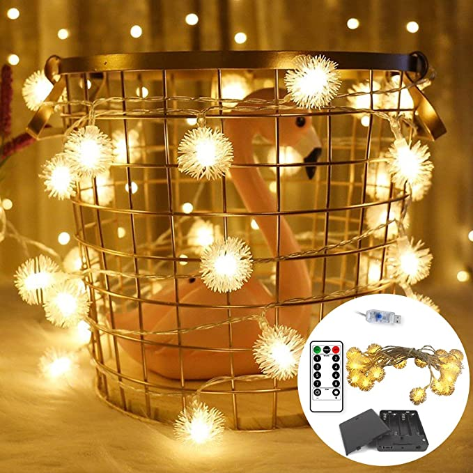 Amazon Com 2 Pack Warm White Dandelion Lights Fairy String Lights Bedroom Wedding Waterproof Decorative Lights Usb Interface Support Batterybox Dimmable Remote Control 9 8ft 20led Dandelion Garden Outdoor