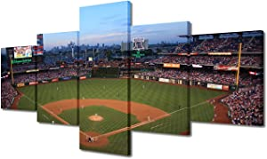"""5 Panels Framed Wall Art - Phillies Home Baseball Stadium Wall Decorations for Living Room Citizens Bank Park Skyline Pictures - Contemporary Home Decor Stretched and Framed Ready to Hang(50""""Wx24""""H)"""