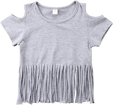 Infant Toddler Baby Girls Cold Shoudler Tops Shirt Tassels Blouse Summer Short Sleeve Dress