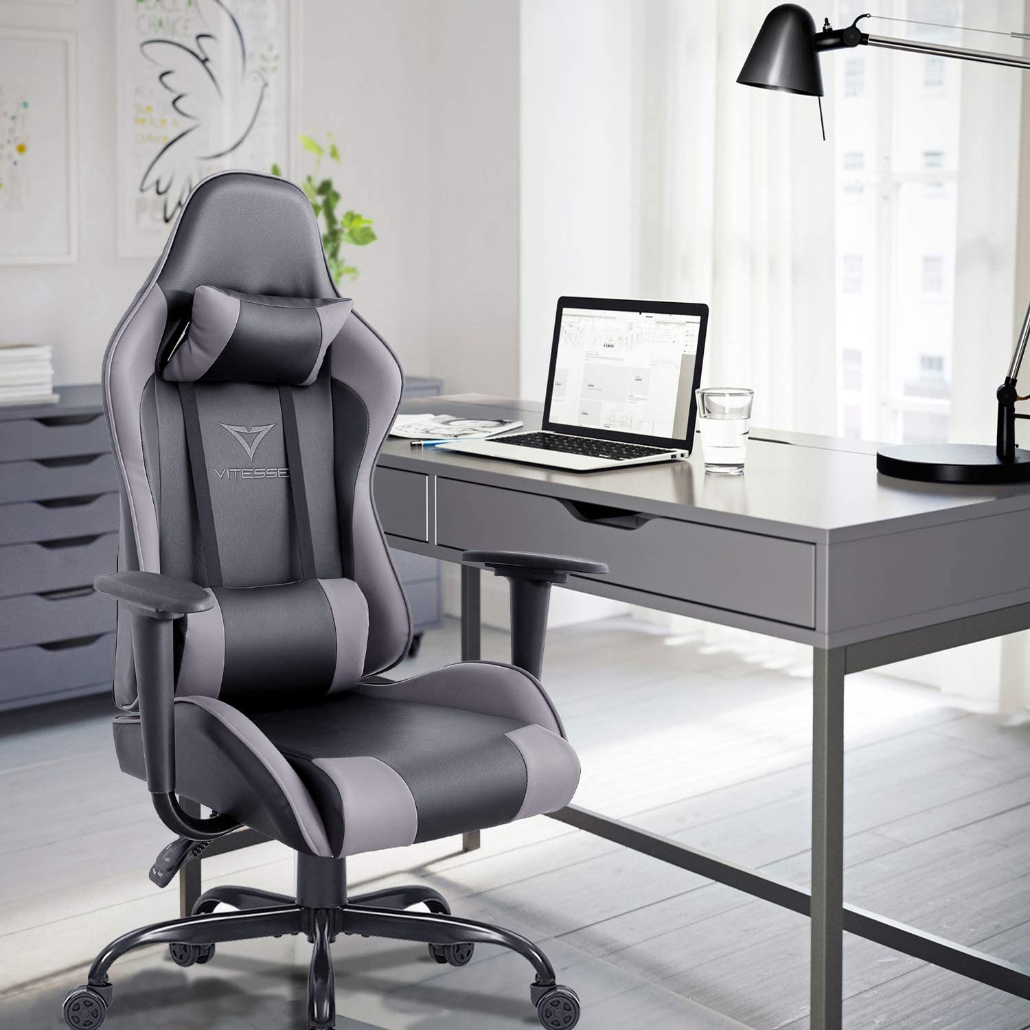 Vitesse Gaming Chair Sillas Gaming Ergonomic Computer Desk Chair High Back Racing Style Comfortable Chair Swivel Executive Leather Chair with Lumbar Support and Headrest Grey