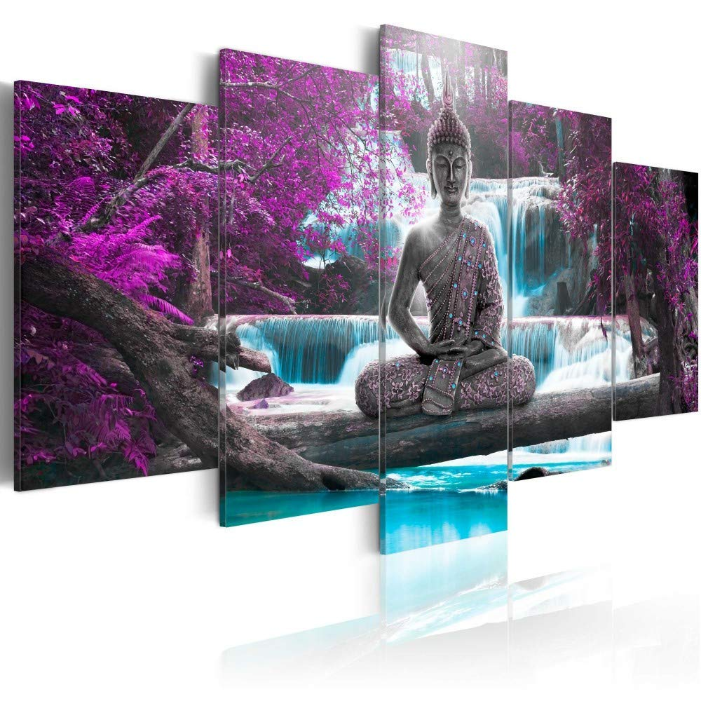 Canvas Print Design Wall Art Painting Decor Zen Decorations for Home Buddha Landscape Artwork Pictures Bedroom (Purple, Over Size 40''x20'')