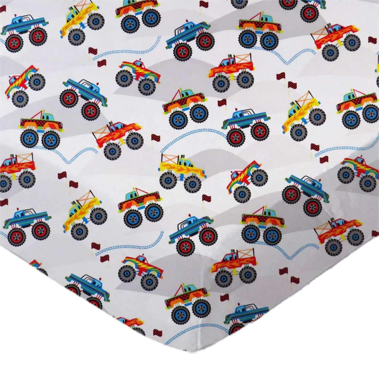 SheetWorld Fitted 100% Cotton Percale Portable Mini Crib Sheet 24 x 38, Monster Trucks, Made in USA by SHEETWORLD.COM