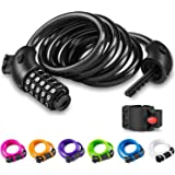 Opaza Bike Lock with 5-Digit Code, 1.2M/4ft Bicycle Lock Combination Cable Lock Lightweight & Security Bike Chain Lock for Bi
