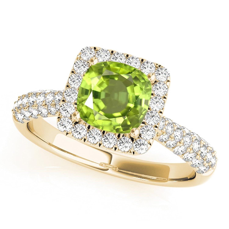 0.95 Ct. Ttw Diamond And Cushion Cut Peridot Ring in 10K Yellow Gold