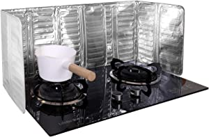 2 Pieces Anti Splatter Shield Guard Oil Barrier Stove Nonstick Aluminum Oil Splash Guard 3 Sided Splash Guard for Kitchen Cooking