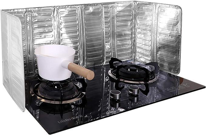 Blue Aluminum Foil Stove Cooking Frying Protector Oil Proof Guard Stove Cook Anti Splashing Oil Baffle 3-Sided Kitchen Splatter Guard Anti Splatter Shield Guard