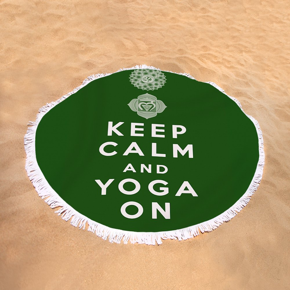 Pixels Round Beach Towel With Tassels featuring ''Keep Calm And Yoga On'' by Georgia Fowler