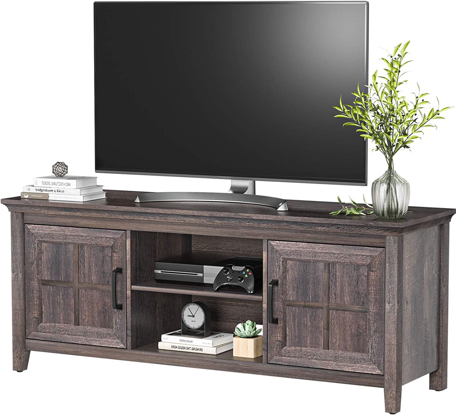 AM alphamount Wood TV Stand for TVs up to 65inch Rustic Media Console Table with Adjustable Storage Cabinet Entertainment Center for Living Room Farmhouse TV Table- APRTS04B
