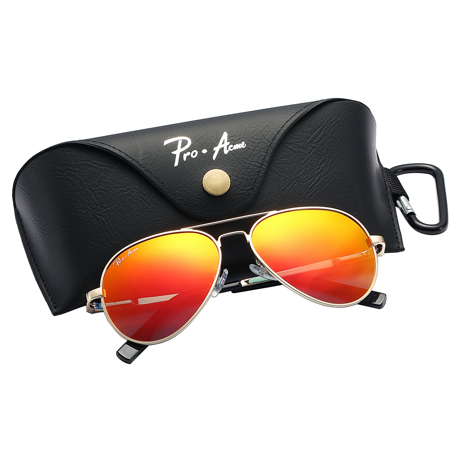 Pro Acme Small Polarized Aviator Sunglasses for Kids and Youth Age 5-18 (Gold Frame/Red Mirrored Lens)