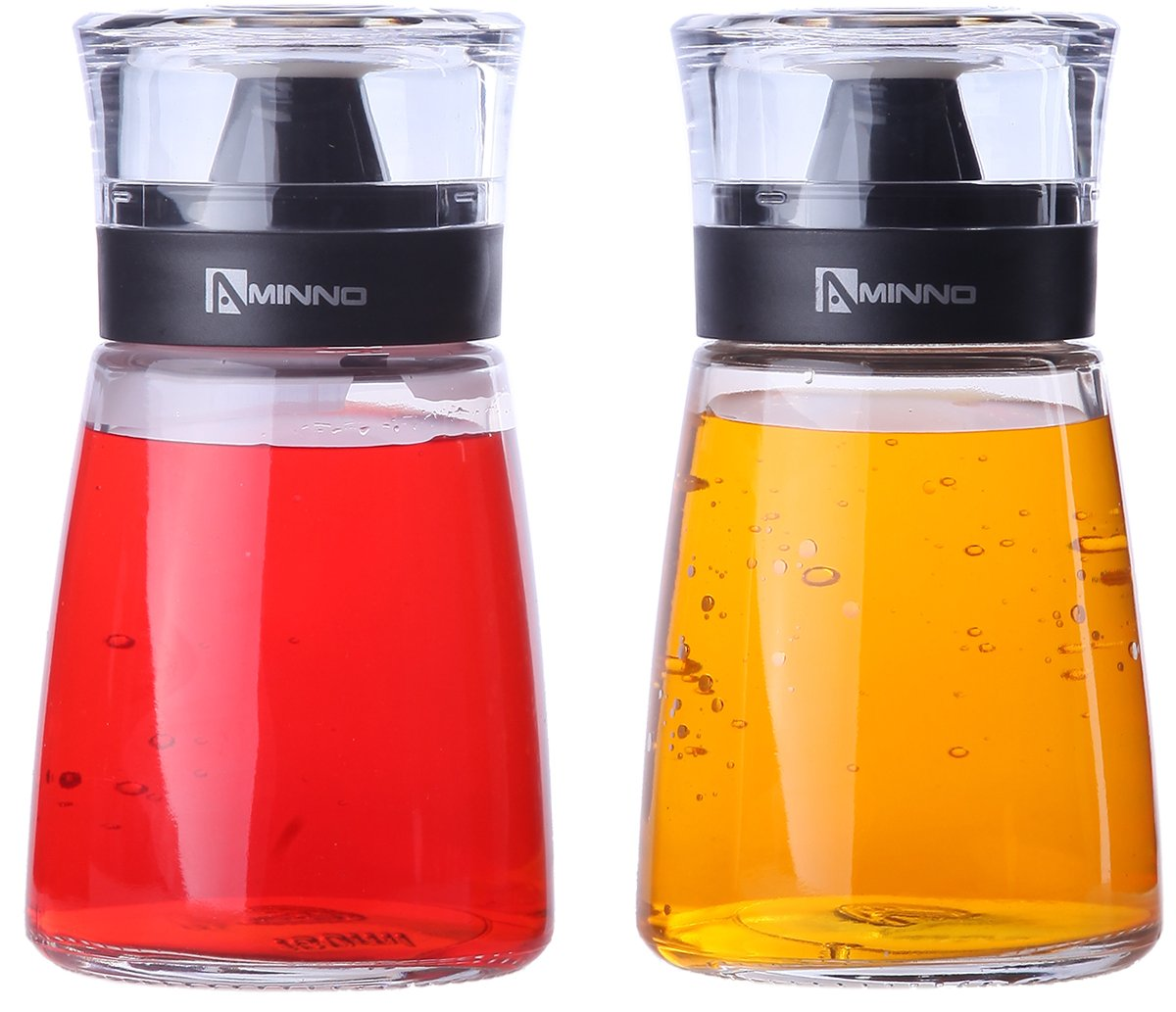 5.5oz Oil and Vinegar Cruets - Glass Dispensers for Oil and Vinegar with Sealing Caps - 2 Pc Set