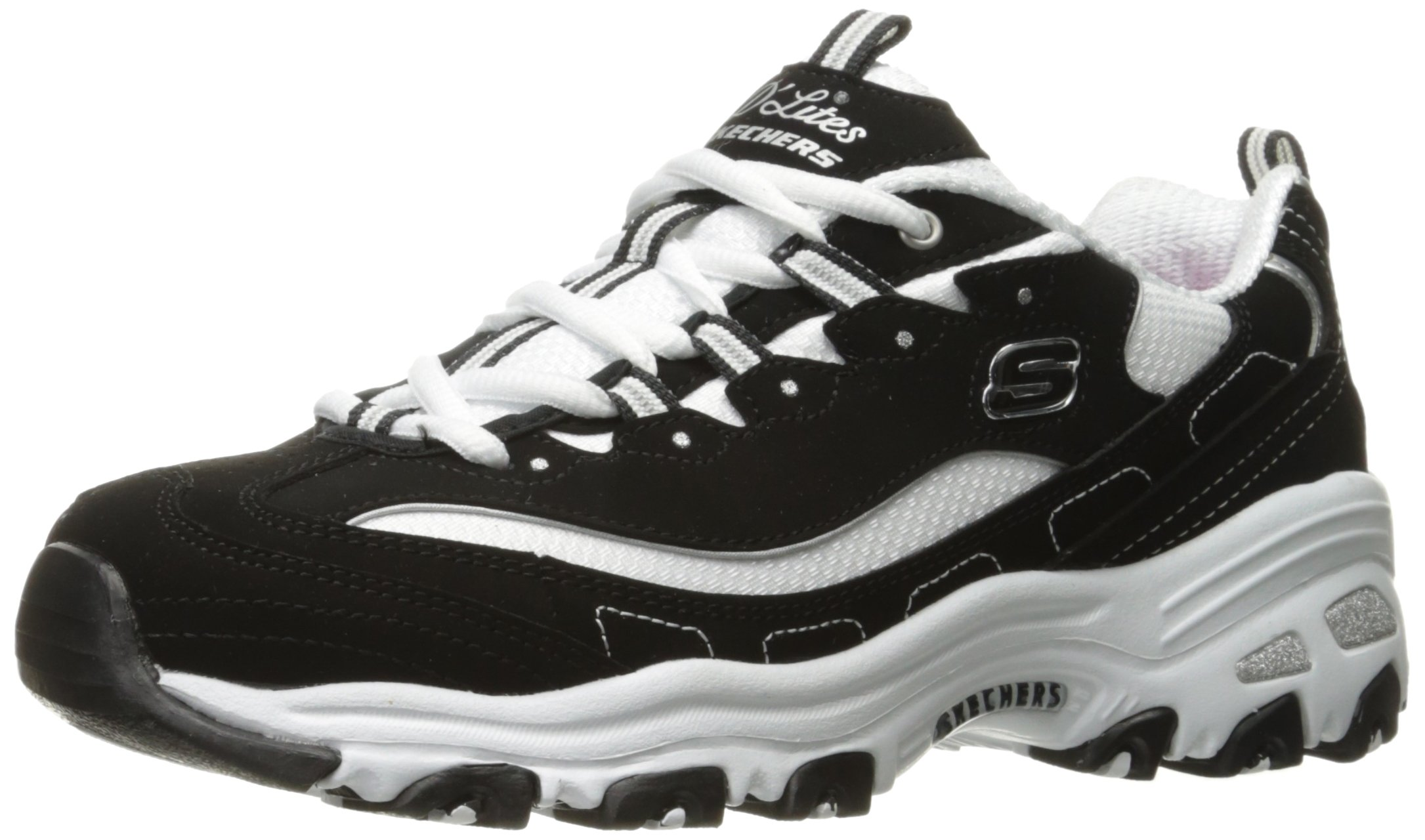 Skechers Sport Women's D'Lites Memory Foam Lace-up Sneaker,Black/White,9 W US