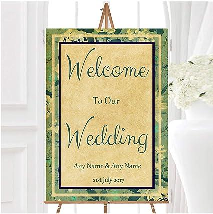 Cartel de boda de estilo vintage con diseño floral y ...