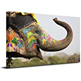 Royllent 1 Panel Framed Wall Decor Art Free Of Wild Elephants Painting Picture Print On Canvas For Home Decor Decoration Gift piece (Stretched By Wooden Frame,Ready To Hang) RA-CP0004 (Art elephant)