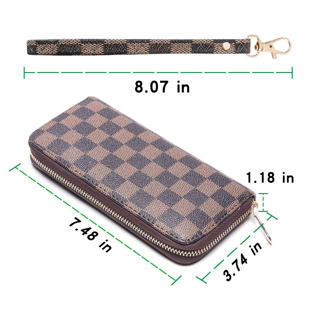 Wristlet Wallets for Women Long Womens Wallet Leather Clutch RFID Blocking with Zip Around Card Holder Organizer (Brown(1 Zipper)) by ANT EXPEDITION (Image #6)