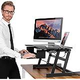 ER Healthy Sit-stand Desktop Computer Workstation   Height-adjustable Standing Desk   Raising and Lowering to Various Positions for Ergonomic Comfort (Black)