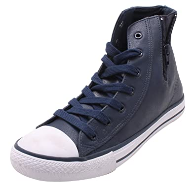 Blue and White Leather High Top Shoes
