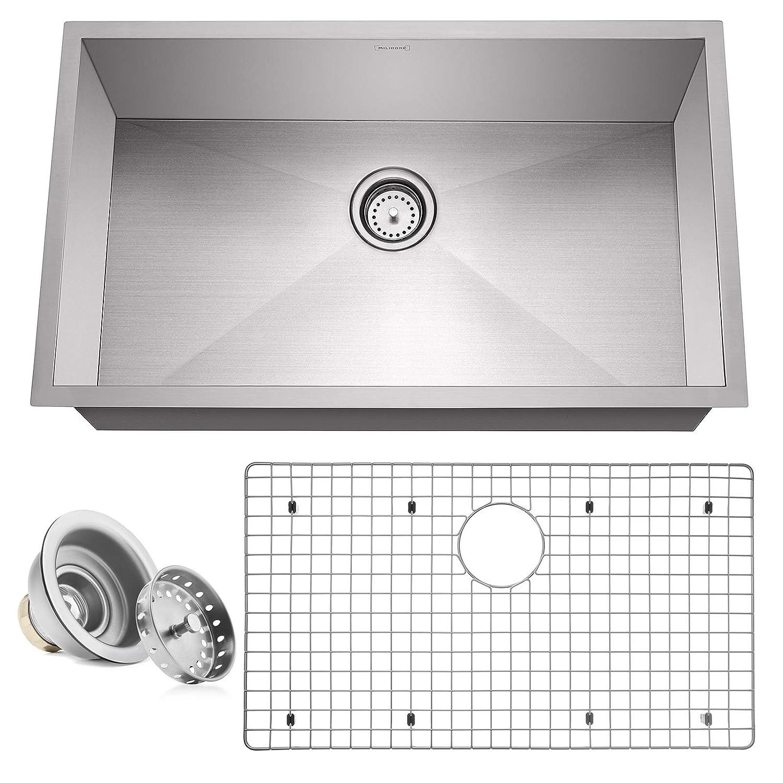 "Miligore 32"" x 19"" x 10"" Deep Single Bowl Undermount Zero Radius 16-Gauge Stainless Steel Kitchen Sink - Includes Drain/Grid"