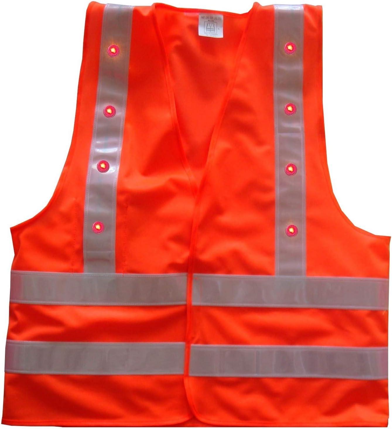 Gilet de s/écurit/é Orange avec 16 LED Rouges XXXL