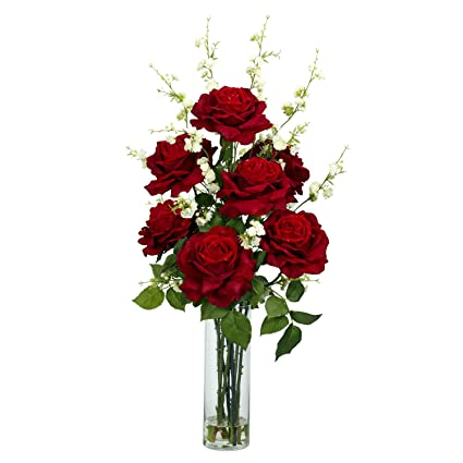 Amazon nearly natural 1203 roses with cherry blossoms silk nearly natural 1203 roses with cherry blossoms silk flower arrangement red mightylinksfo