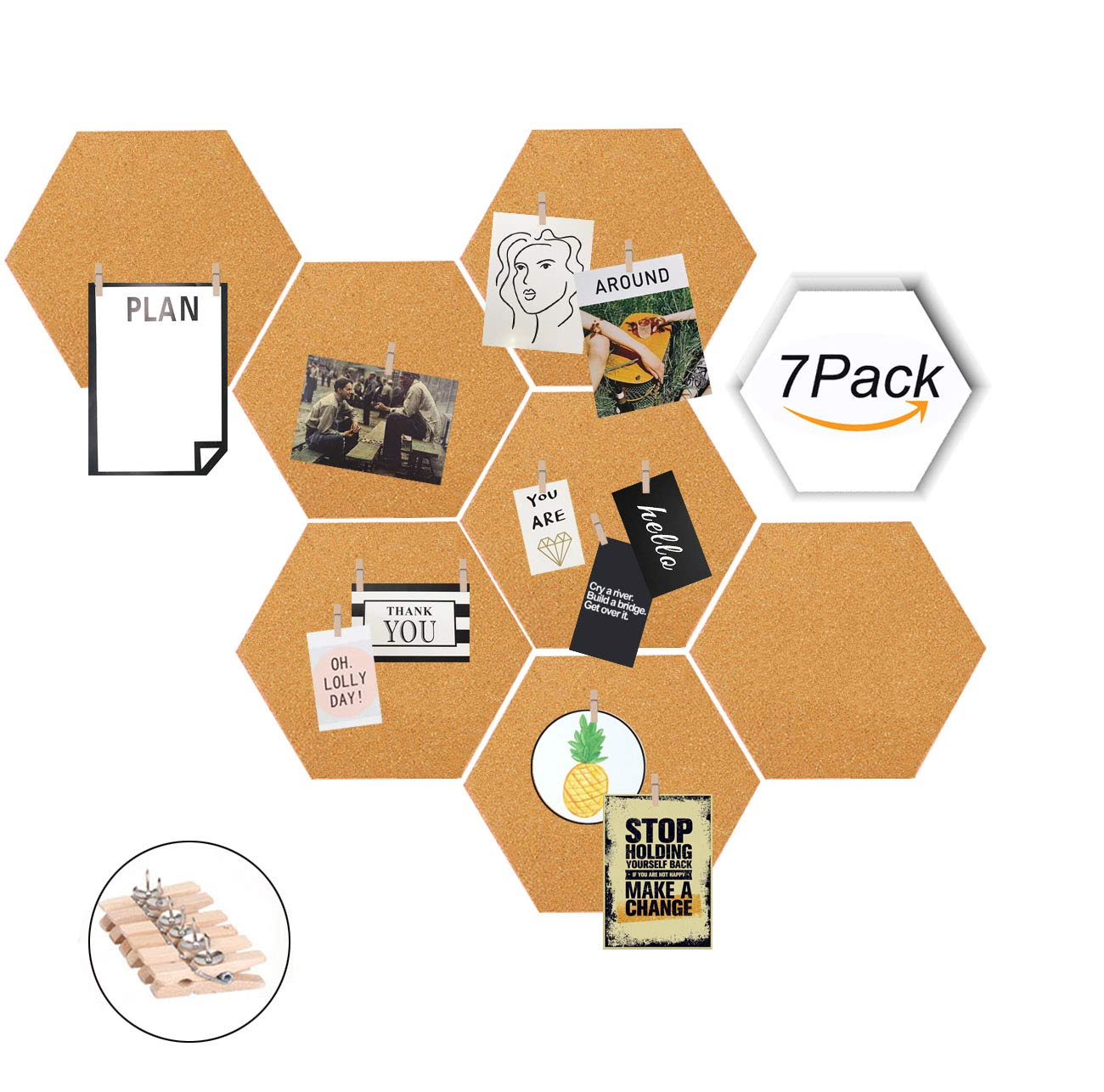 Moi Doi Wall Decor, Bulletin Board, Cork Tiles, Hexagon Cork Board with Adhesive Backing Memo Boards Message Board for Office/Home/Kitchen/Dorm Room, 7 Pack +30 PINS