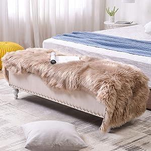 LEEVAN Sheepskin Rug Faux Fur Rug Super Soft Fluffy Chair Cover Seat Shaggy Single Pelt Floor Mat Carpet Accent Home Decor(Coffee,2' x 5')